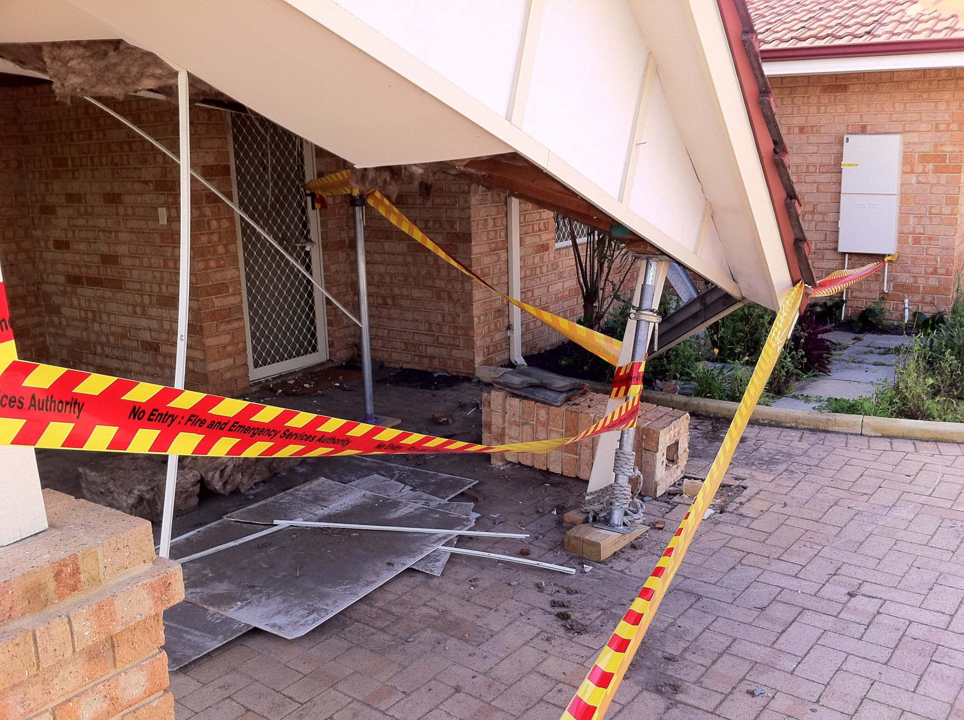 Roof and ceiling collapse.