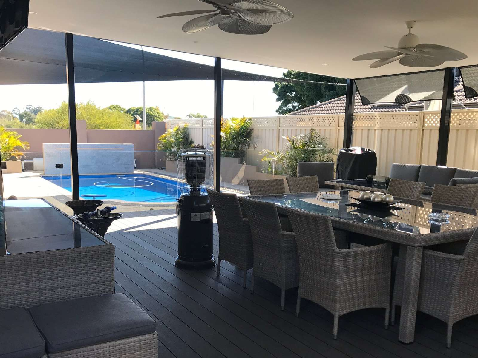 Outdoor renovation with pool.
