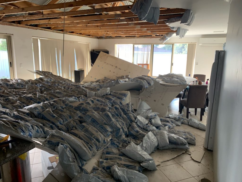 Major collapsed ceiling.,
