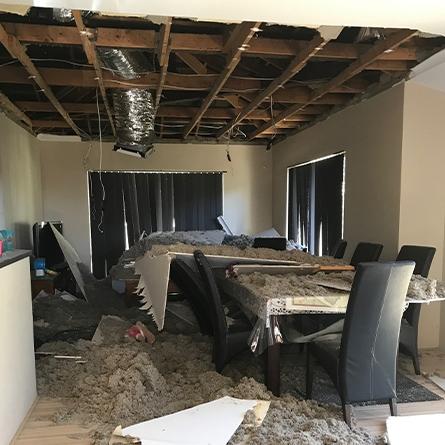 Collapsed ceiling repair.