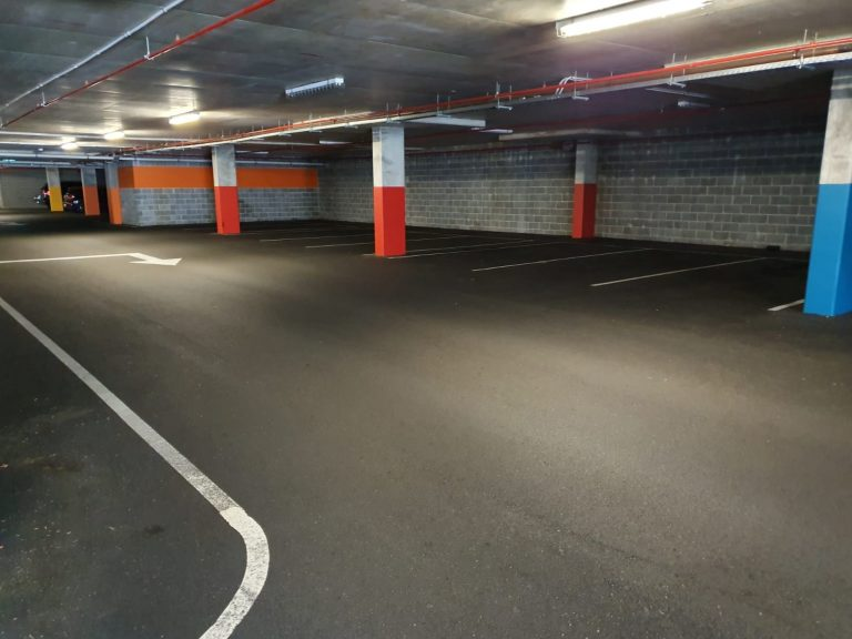 A cleaned underground carpark.