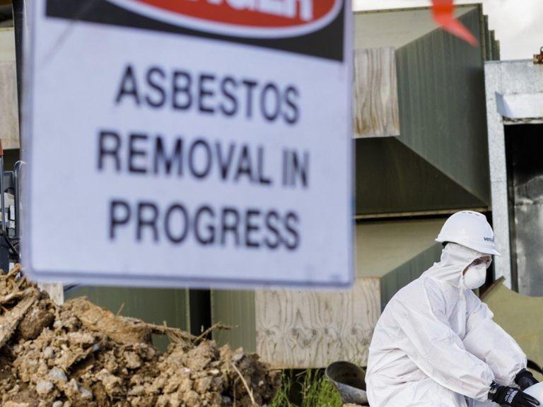 Asbestos removal sign.