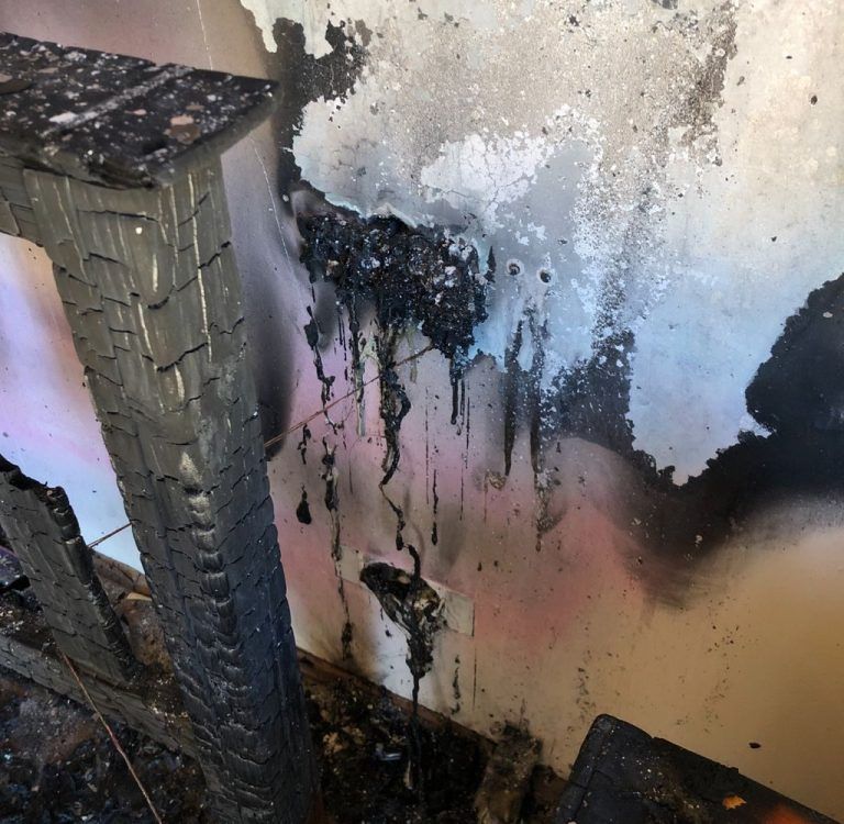 An example of extreme fire damage.